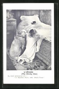 AK L`effronte, The National Equine, Kind mit Hund beim Abendgebet, Tierschutz