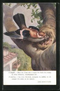 Künstler-AK L`Aucell, Deu em dona ales i espai..., Vogel am Nest, Tierschutz