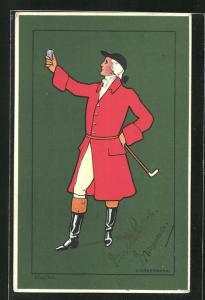 Künstler-AK elegant gekleideter Jäger im roten Mantel