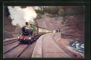 Künstler-AK englische Eisenbahn Great Western Express aus dem Tunnel fahrend