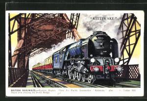 Künstler-AK British Railways, englische Eisenbahn Kittiwake auf einer Brücke