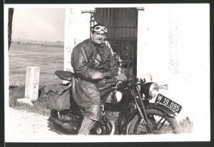 Fotografie Motorrad DKW, Fahrer mit Schutzbrille, Krad-kennzeichen W 19.095