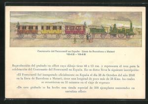 AK Centenario del Ferrocarril en Espana, alte spanische Dampflokomotive mit Waggons, Eisenbahn