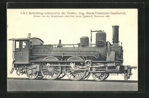 AK österreichische Eisenbahn mit Kennung 86, 1-B-1 Schnellzug-Lokomotive der Gesellschaft O.U.S.E.
