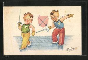 AK Zwei Jungen üben sich im Fechten