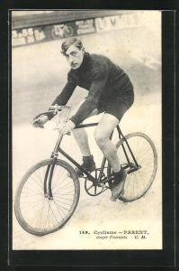AK französischer Radrennfahrer Parent mit seinem Rad auf der Bahn, Radsport