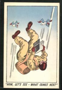 AK Fallschirmspringer liest seine Instruktionen im freien Fall