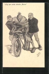 AK Männer bringen einem Orientalen das Fahrradfahren bei, arabische Volkstypen