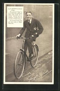 AK Schauspieler G. K. Arthur auf einem Fahrrad der Marke Rudge-Whitworth