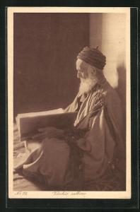 AK Vecchio rabbino, Alter Rabbiner mit Turban u. Bart