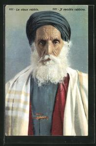 AK Le vieux Rabbin, Alter Rabbiner mit Turban u. Bart