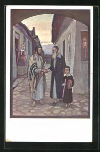 AK Jüdische Männer geben sich auf der Stasse die Hand