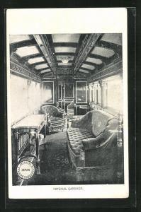 AK Japan, Imperial Government Railway, Imperial Carriage, Innenansicht Eisenbahnwagen