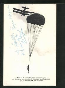 AK Maurice Blanquier, Recordman francais..., Flieger springt mit Fallschirm ab