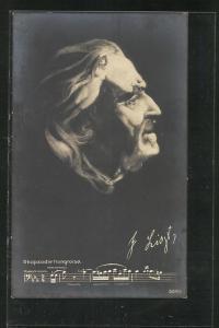 AK Portrait von Franz Liszt aus nackten Frauenkörpern gebildet, Rhapsodie Hongroise
