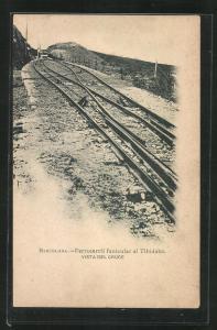 AK Barcelona, Ferrocarril funicular al Tibidabo, Bergbahn