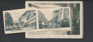 Leporello-AK Lauterbrunnen, Ansichten hinterm Wasserfall, Hunnenfluh, Dorfstrasse und Staubbach