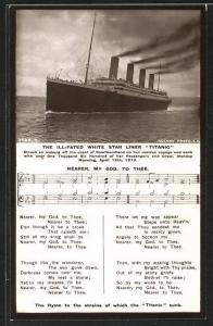 AK Untergang des Passagierschiffes Titanic der White Star Line am 15. April 1912, Trauerlied Nearer, my God, to Thee
