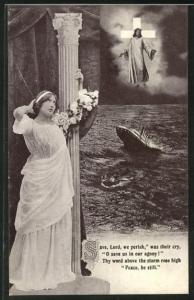 AK Trauer über den Untergang des Passagierschiffes Titanic der White Star Line am 15. April 1912