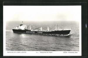 AK Handelsschiff M.V. Manchester Port in Fahrt, Manchester Liners Limited