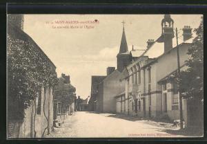 AK Saint-Martin-sur-Ouanne, La nouvelle Mairie et l`Eglise