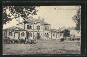 AK Bleneau, La Mairie, Les Ecoles