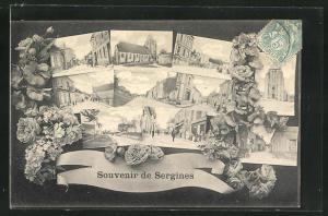 AK Sergines, verschiedene Ortsansichten, Kirche, Strassen, Häuserfassaden, Blumen