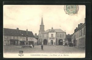 AK Cerisiers, La Place et la Mairie, Brunnen