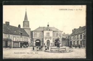 AK Cerisiers, La Place, La Mairie, Springbrunnen