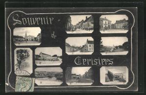AK Cerisiers, La grande Rue, Tombeau de Saint-Jean, La Place et La Mairie
