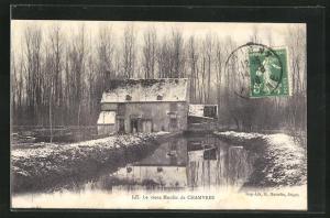 AK Chamvres, Le vieux Moulin, Mühle im Winter