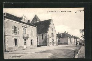 AK Vincelles, La Mairie et l`Eglise