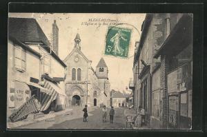 AK Bleneau, L`Eglise et la Rue d`Orleans
