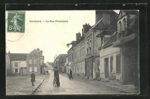 AK Cerisiers, La Rue Principale, Fahrrad