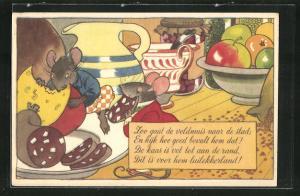Künstler-AK vermenschlichte Ratten knabbern Wurst und Käse an