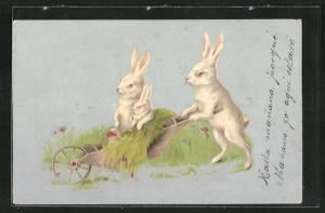 Künstler-AK niedliche Hasenfamilie in einer mit Gras gefüllten Schubkarre