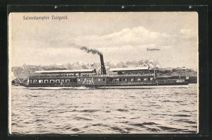 AK Salondampfer Luitpold vor dem Alpenpanorama auf dem Starnberger See