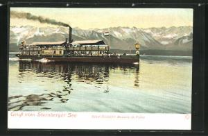 Lithographie Salondampfer Bavaria auf dem Starnberger See