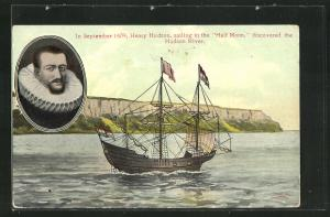 AK Porträt Henry Hudson, Entdeckung des Hudson Rivers 1609