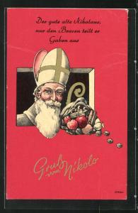 AK Nikolaus mit Gabensack