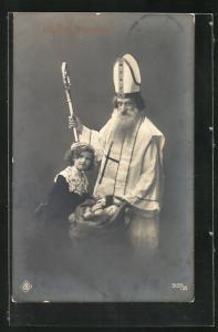 AK Nikolaus mit Gabensack und einem Mädhcen