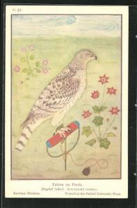 AK Falcon on Perch, Mughal School, Seventeenth century