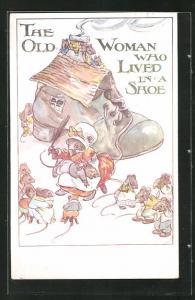 Künstler-AK The Little Mouse Family, The old Woman who lioved in a Shoe, Mausefrau versohlt kleinen Mäusen den Hintern