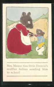 Künstler-AK Mrs. Mouse ties little Jimmie`s muffler before sending him to school, Mausemutter und Sohn