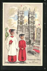 Künstler-AK sign. Helen McKie: London, Westminster Abbey and two Choristers, Chorknaben