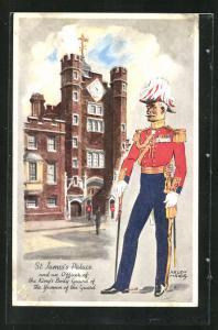 Künstler-AK sign. Helen McKie: London, St. James Palace and an Officer of the King`s Body Guard..., Leibgardist