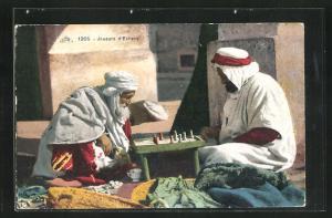 AK Joueurs d`Echecs, Zwei Araber sind in ihr Schachspiel vertieft