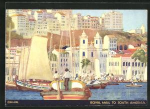 Künstler-AK sign. Kenneth Shoesmith: Bahia, Blick auf den Hafen