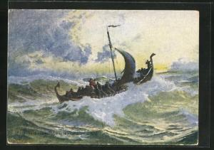 Künstler-AK Leiv Eriksson on his way to America in the Year 1000