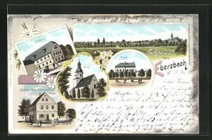 Lithographie Ebersbach, Bäckerei u. Materialwarenhandlung O. Otto, Gasthaus, Schule, Kirche